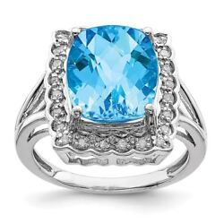 Sterling Silver 2 Mm Diamond And Checker-cut Blue Topaz Ring Msrp 770