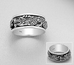 mens spin ring solid sterling silver Hallmarked 925 Dragon Design 8us to 11us