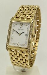 Concord Veneto 18k Yellow Gold Men's Watch 25mm x 35mm Box & Papers