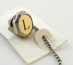 Vintage Tie Tack Tac Lapel Pin Letter L Initial Personalized Two Tone