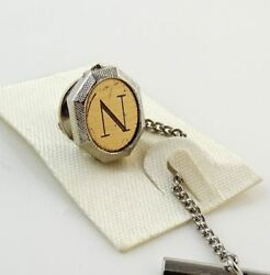 Vintage Tie Tack Tac Lapel Pin Letter N Initial Personalized Two Tone