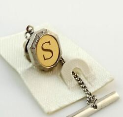 Vintage Tie Tack Tac Lapel Pin Letter S Initial Personalized Two Tone