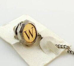 Vintage Tie Tack Tac Lapel Pin Letter W Initial Personalized Two Tone