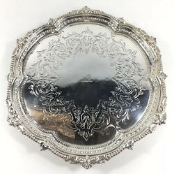 Antique 1862 Martin Hall And Co Solid Silver Chippendale Style Tray Top Salver