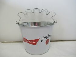 Budweiser And Jim Beam Collaboration Metal 6 Pack Beer Ice Bucket