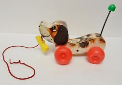 Fisher-price Little Snoopy Wood Dog Tog Pull Along '65-68 Vintage 693
