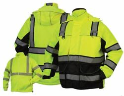 Pyramex Hi-vis Class 3 Insulated Safety Parka Reflective Jacket Road Work M-5xl