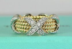 6900 And Co 18k Gold Platinum Schlumberger Diamond Rope Four Row X Ring 4