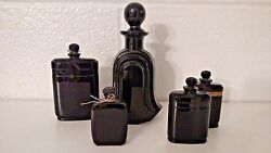 Lot Of 5 Art Deco Iconic Black Glass Perfume Bottles France And Italy