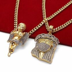 Men#x27;s 14k Gold Plated High Fashion 2 pcs JESUS CZ amp; ANGEL 30quot; amp; 24quot; Cuban Chain