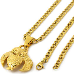 Men 14k Gold Tone Stainless Steel O.v.o Owl Pendant 4mm 24 Cuban Necklace Chain