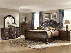 MONTEREY Traditional Cherry Brown 5pc Queen or King Sleigh Bedroom Set Furniture