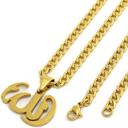 14k Gold Tone Stainless Steel Allah Pendant 4mm 24 Cuban Necklace Chain