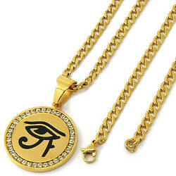 Men Gold Tone Stainless Steel Eye Of Horus Pendant 4mm 24 Cuban Chain Necklace