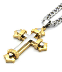 Men's Stainless Steel Small Cross Pendant Gold And Silver 4mm 24 Cuban Curb Chain