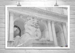 Black and White Photograph of New York Public Library Lion