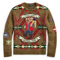 NWT MENS POLO RALPH LAUREN HIKING BEAR WOOL SWEATER W STITCHED PATCHES SIZE L