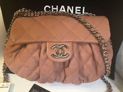 AUTHENTIC CHANEL CHAIN AROUND CC LOGO MESSENGER CROSSBODY BAG ORANGE TIMELESS