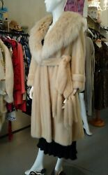 Knee Lengthglamorous Belted Blonde Mink Coat With Large Arctic Fox Collar