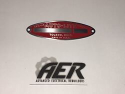Auto-lite Starter Generator Red Id Tag Nameplate Autolite Stamped W/ Your Number