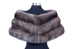 RUSSIAN BARGUZIN WILD SABLE FUR EXQUISITE NATURAL SILVER TIP BOLERO CAPE
