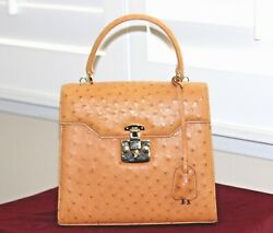 Auth. Gucci Ostrich Evening Kelly Style Top Handle Satchel Shoulder Bag