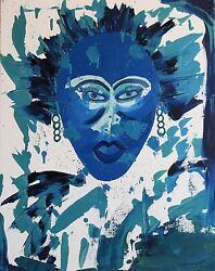 Original Modern Paintings Blue Green African Women Certificate Of Authenticity