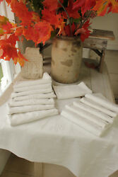 Vintage French Holiday Napkins Set 14 White Linen Ag Initials Monogram 23x30 In