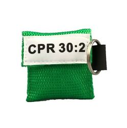 50 Green Cpr Face Shield Mask In Pocket Keychain Imprinted Cpr 302