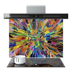 Splashback Kitchen Glass Printed Cooker Colourful Stained Glass 0096 Any Size