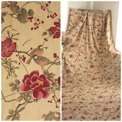 Antique Curtain French 1890 Printed Cotton Huge Stunning Bird And Floral Design