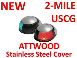 New Attwood Navigation Light Bow 2 Mile Red Green Pair Pontoon Deck Mount 3820-1