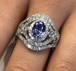 1.0ct Blue Oval Sapphire W 2.05ctw Diamond Halo And Accents In 14k White Gold Ring