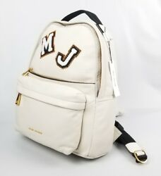 $595 Marc Jacobs Varsity Vintage White Leather Patch Large Women's Backpack New