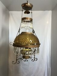 Dated 1892 Victorian Hanging Parlor Oil Lamp With Prisms And Amber Hobnail Shade