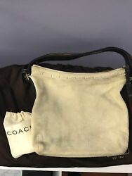 Coach Bucket Bag Beige Suede With Brown Braided Leather Handle Pre Owned $49.00