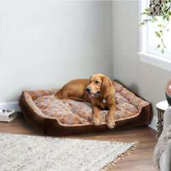 Warm Corduroy Padded Dog Bed Washable Pet House Mat Soft Sofa Waterproof Perros