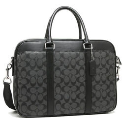 NEW Coach Men's Signature Briefcase Business Crossbody Black Leather Laptop Bag
