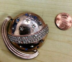 Out-of-this-world Planet Saturn Sterling Silver Rhinestone Embedded Brooch