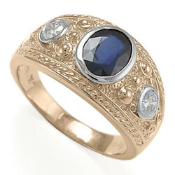 MEN'S 14K ROSE AND WHITE GOLD THREE-STONE GENUINE SAPPHIRE DIAMOND RING R1965