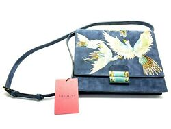 New Designer Valentino Bird Embroidered Suede Shoulder Bag $1499. obo