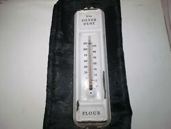 Antique Porcelain On Steel Thermometer Use Silver Dust Flour 16