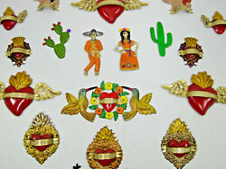 Set Of 19 Refrigerator Magnets Mexican Hand Painted Punched Tin, Wholesale Lot