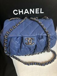 AUTHENTIC CHANEL CHAIN AROUND CC LOGO MESSENGER CROSSBODY BAG BLUE TIMELESS