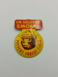 Smokey The Bear Badge Pin Tin Litho Prevent Forest Fires
