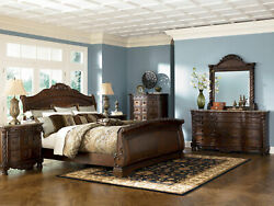 Old World Cherry Brown Marble 5 pieces Bedroom Set w Queen King Sleigh Bed IA09
