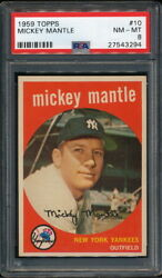 Mickey Mantle 1959 Topps Yankees Card #10 PSA 8 *Very Clean*
