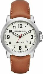 Michael Kors Mens Gents Paxton Light Brown Leather Strap Watch MK8531