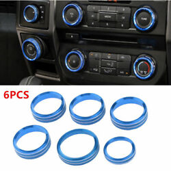 Blue Air Conditioner&Audio Switch Knob Ring Cover Trim for Ford F150 2016-18 6pc