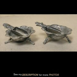 Pair Antique Mexican Jose Anton Sterling Silver Footed Open Salt Dishes Spoons